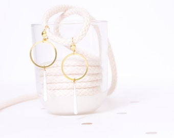CLEARANCE earrings brass ring and large drop white
