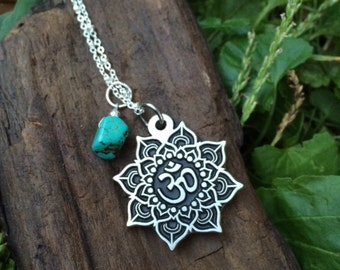 Lotus Mandala and Turquoise Pendant Necklace/ Lotus flower/ OM/ Mandala/ Turquoise/ Pendant/ Sterling Silver Chain/ Spiritual/ Jewelry