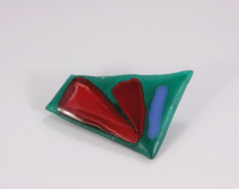 Glass Brooch Vintage Blue Green Red Abstract Pin Very Cheap Vintage Handmade Multi Color Glass Brooch Hipster Brooch Bohemian Brooch Gift