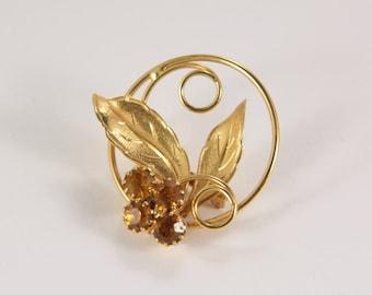 Vintage Amber Brooch Autumn Rhinestone Golden leaf Pin Brooch Vintage Jewelry