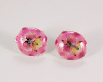 Light Funny Pink Ornate Enameled Metal Flower Earrings