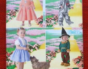 Wizard of Oz Costume Sewing Pattern Simplicity 4024 Dorothy Glinda, Tin Man, Scarecrow, Toddler Sizes 1/2 1 2 3 4, Halloween Party, UNCUT