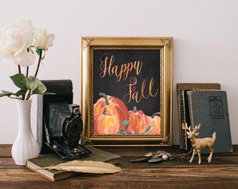 75% OFF SALE - Fall Decor - 8x10 Fall Printable Art, Happy Fall, Autumn Decor, Pumpkin Decor, Fall Wall Art, Chalkboard, Pumpkin Printable