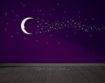 Moon Stars Decal Nursery Moon Wall Decal Smiling Moon Decal Man In The Moon Decal Magical Wall Decal Moon and Stars Decal Bedtime Decal