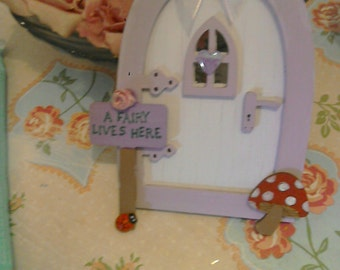 Gorgeous Fairy door, sign and toadstool