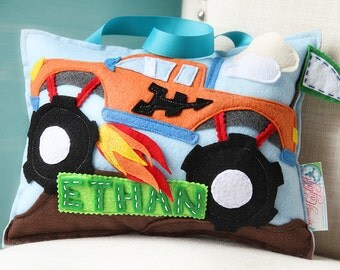 Tooth Fairy Pillow Boy, Boys Tooth Fairy Pillow, Monster Truck Pillow, Monster Truck Nursery, Tooth Pillow, Name Pillow, Tooth Pillow Car