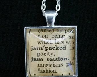 Vintage 1952 Webster's Dictionary Word Necklace: Jam Session
