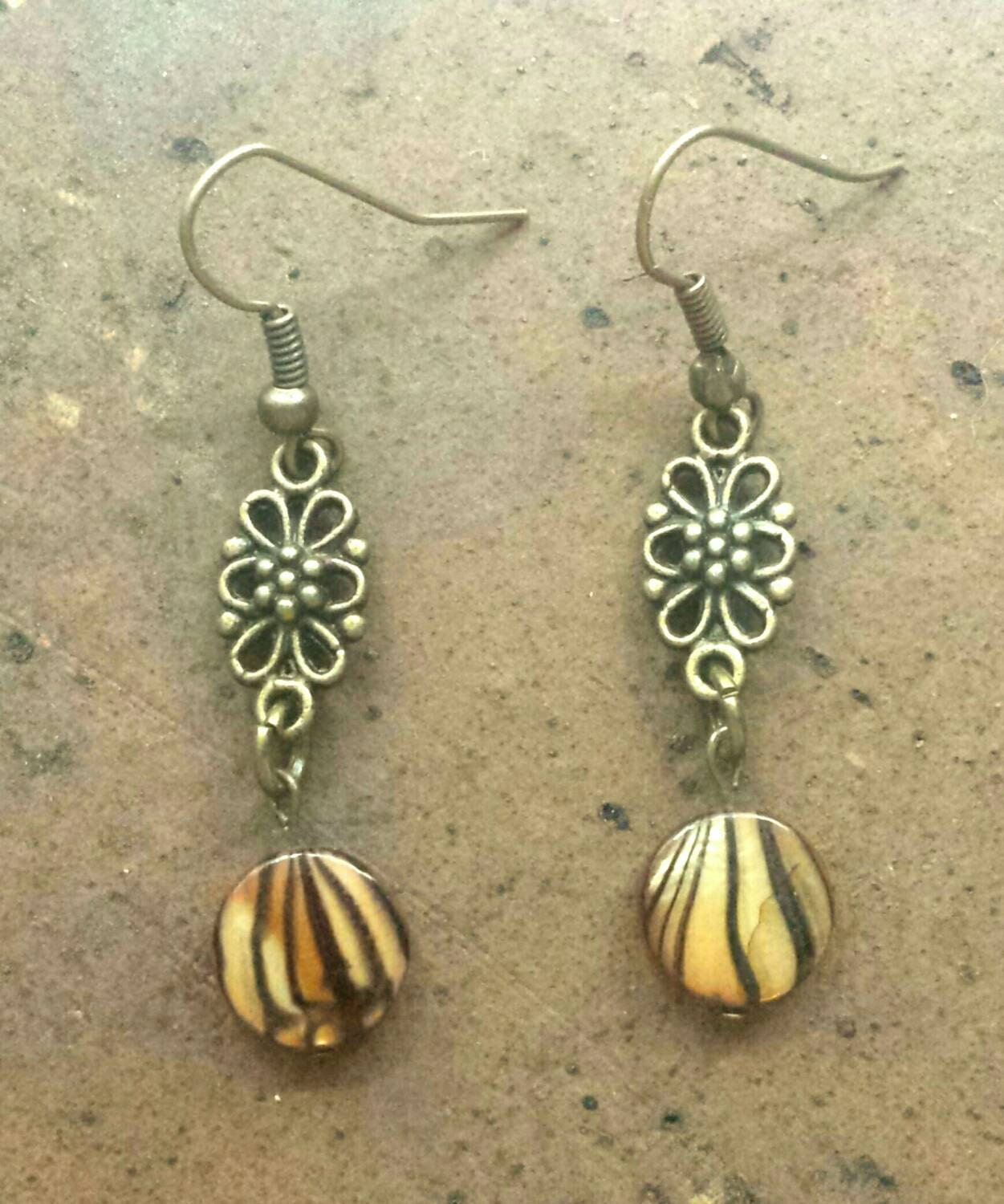 tiger earrings tiger jewelry tiger shell by rvfcreations