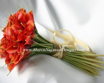 Persimmon, burnt/deep orange, bouquet, Real Touch flowers, Fresh Touch flowers, Silk Wedding Flowers, Calla Lilies