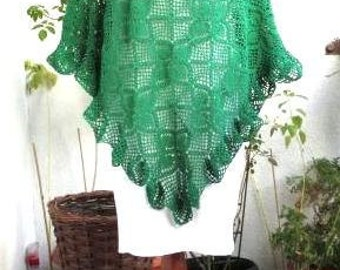 Crochet Wrap Spring Poncho Green  Bohemian Poncho  Crochet Handmade Wrap