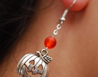 Orange Pumpkin earrings, halloween earrings,  fall earrings, orange beads earrings, chain earrings, gift earrings