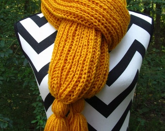 READY to SHIP-Hand Knit on Needles-Long Winter Scarf-Gold