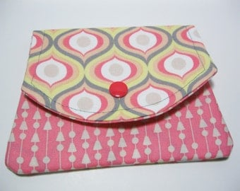 Womens Fabric Wallet, Geometric Cotton Fabric Wallet, Business Card Holder, Credit Card Holder, Gift Card Holder, Gift Under 20