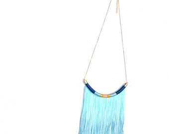 BLUE Lagoon // Fringe Necklace, Tassel Necklace, Rope Necklace, Ombre Necklace, Ocean Blue Necklace, Boho Necklace, Boho C