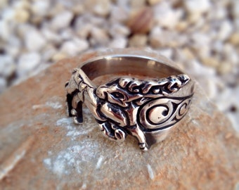 Deer ring - Scythian ornament - Sterling Silver - Free Shipping