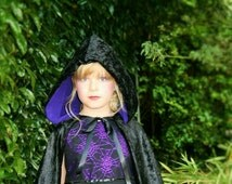 Girl Childs Fully Lined Black Velvet Cape Cloak - Party, Photo Prop, Pageant, Fancy Dress, Gothic, Maleficent