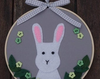 Rabbit embroidery hoop art - Large 17cm - Spring, Easter gift, 1st baby, Nursery, Home decor, Children, Rabbit gift, Baby shower, Bunny