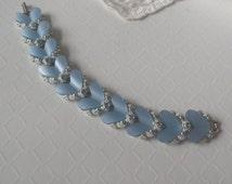 Vintage BSK Bracelet Blue Moonglow Lucite Mid Century 1950s Jewelry