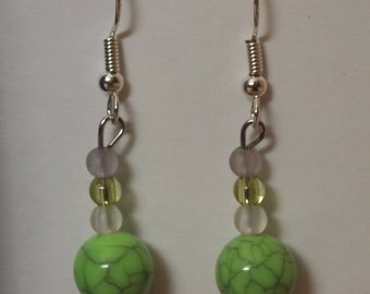 Green beaded dangles, silver tone fish hooks and plastic and glass beads