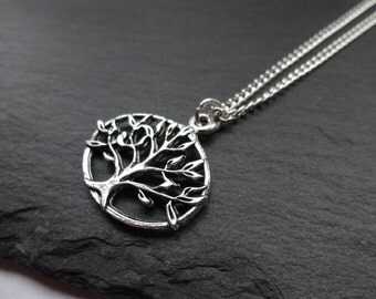 Silver Tree Of Life Necklace, Silver Plated Chain, Charm Necklace