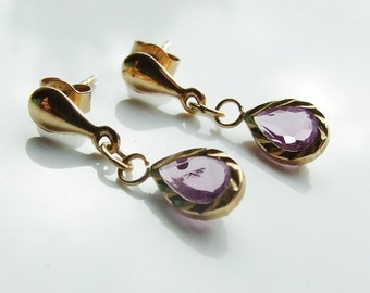 Vintage 9ct 9k Gold Amethyst Drop Earrings