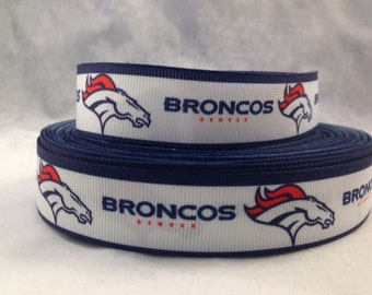 "Denver Broncos Ribbon - Football Ribbon - 7/8"" Grosgrain Ribbon by the yard, for hair bows,crafting and more!  Football Ribbon - Broncos"