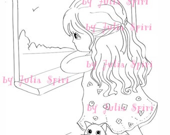 Digi Stamps, Scrapbooking printable, Digital stamp, Girl stamps, Cat stamps, Coloring pages, Doll stamps, Line art. Little Lori