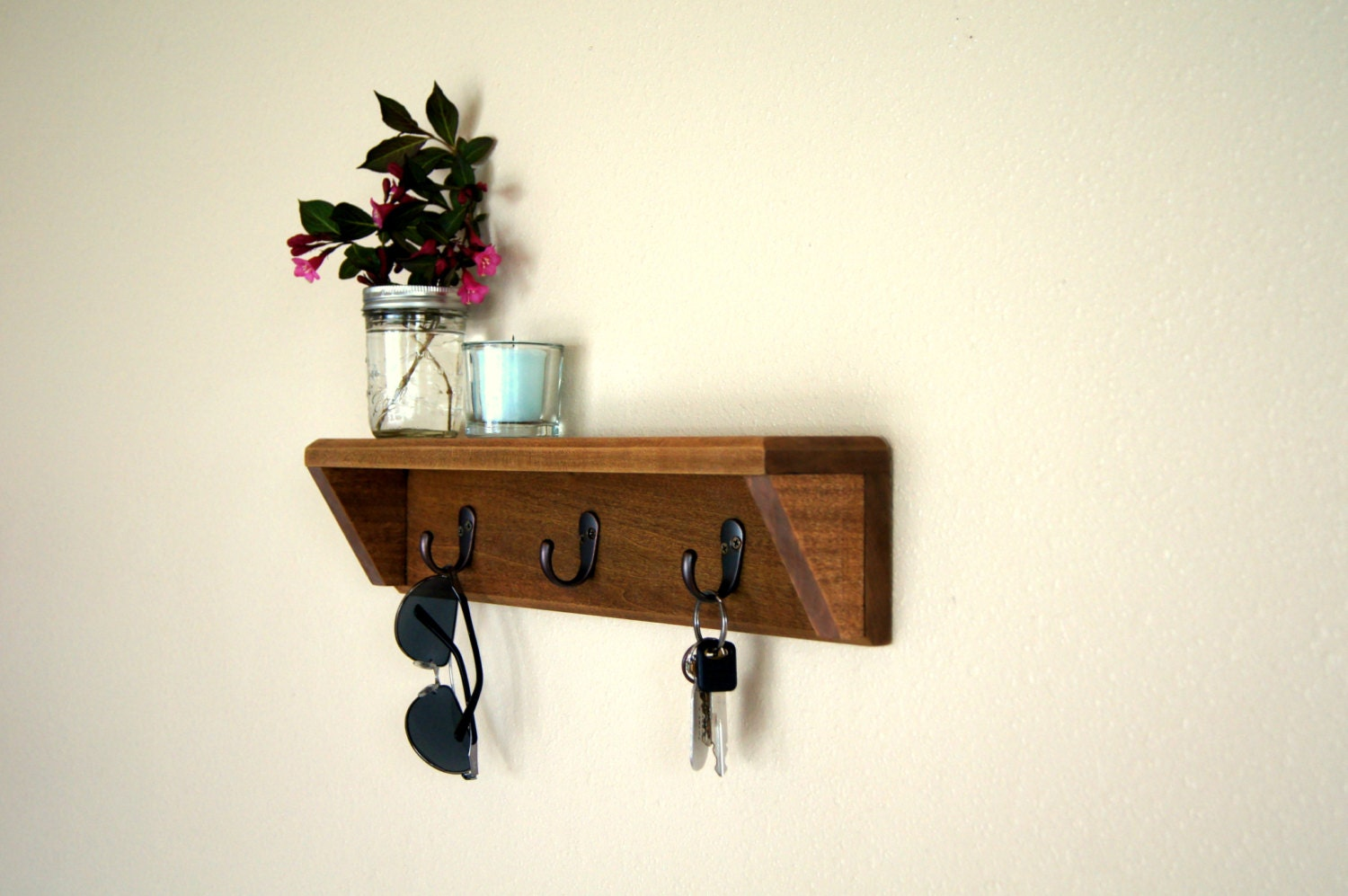 wood entryway organizer shelf with hooks by midnightwoodworks