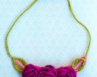 Crochet rose necklace