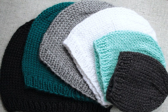 Knitting Pattern Basic Beanie : Knitting Pattern: Basic Knit Beanie Hat in All Sizes