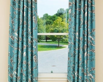 Custom Drapery-*Designers-Favorite*, Curtains, Panels, Top Window Treatments, Made-to-order,*Southern Blossom*, Jade