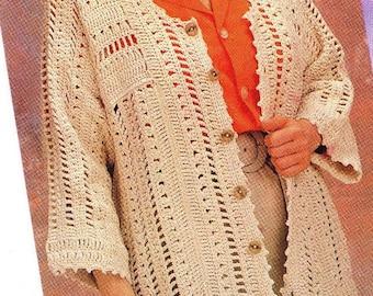 Crochet  Cardigan Sweater Pattern, Buttoned down Large Size Sweater Pattern-Digital Download