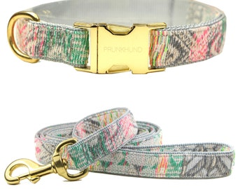 Dog collar New York in aztec pattern - neon accents