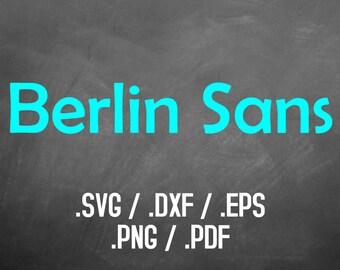 Berlin Font Svg Design Files, Silhouette Studio Font, Cricut Design Font, Brother Scan Cut, Scal, DXF Files, SVG Font, EPS Files, Png Fonts