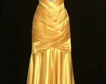 Yellow Satin and Large Rhinestone Mermaid Gown          VG107