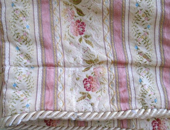 Vintage french ticking brocade mid century french provincial fabric