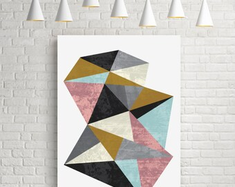 Mineral, geometric art, fine art print, room decor, abstract art, triangle art, original art gift, contemporary art, contemporary print