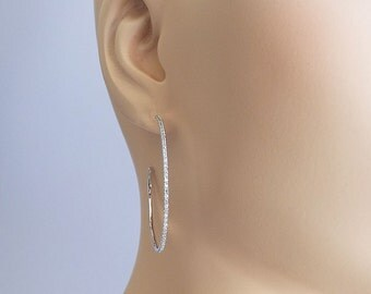 CZ hoop earrings 1 mm micro pave cz diamond white gold plated ultra thin hoop earrings sophisticted and chic!