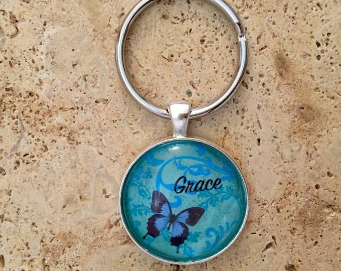 Butterfly Keychain. Teal with blue butterfly - Grace.  Silver glass dome keychain with butterfly.  Christian Jewelry, Gifts for Christian