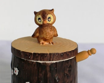Vintage Owl Honey / Jam Pot