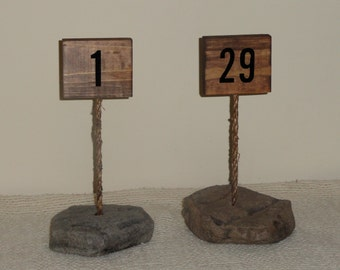 NEW ---Table Numbers/Wedding Table Numbers/ Rustic Table Numbers/Centerpiece/Stone Table Numbers/Rustic Wedding Decor