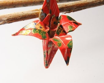 "Brooch in origami ""Scarlet lily flower"""
