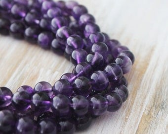 8mm Dark Amethyst Round - Purple Beads Genuine Natural Gemstones Full Strand A Quality