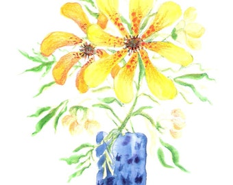 Freckled Flowers in a Blue Vase - Original Watercolor Painting of Yellow Lillies - Small 6 x 8 inches