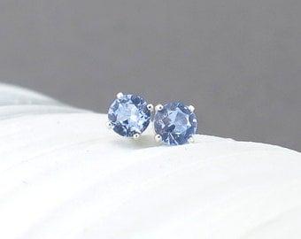 Aquamarine Earrings Tiny Silver Earrings Aquamarine Stud Earrings March Birthstone Jewelry Gemstone Post Earrings 4mm Gift for Her