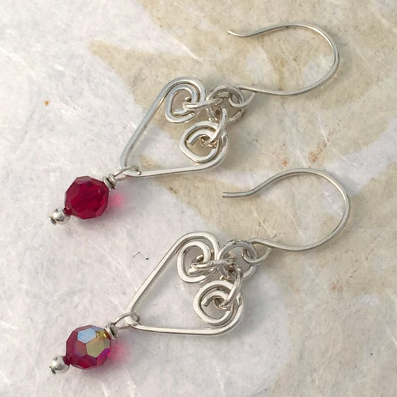 Red Silver Heart Earrings, Swarovski Crystal, Wire Wrapped, Sterling Silver, handmade, hammered wire charms, simple, everyday