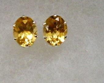 9x7mm Citrine Gemstones in 925 Sterling Silver Stud Earrings   SnapsByAnthony