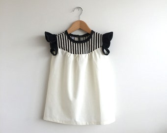 girls cotton dress with stripe detail