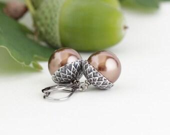 Woodland Earrings - Acorn Earrings - Brown Pearls - Fall Jewelry - Rustic Earrings - Autumn Earrings - Gift For Mom - Gift For Her