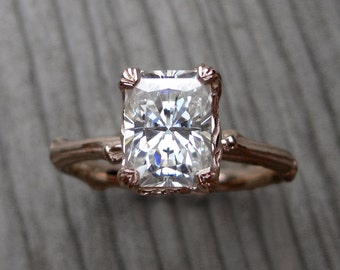 Emerald Moissanite Twig Engagement Ring: Carved Floral Setting, 1.8ct Forever Brilliant™
